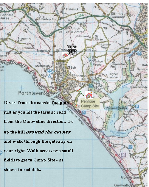 map of Porthleven and Penrose and Treza ccamp site